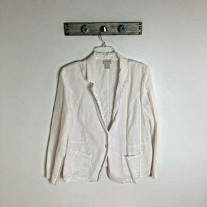Chicos XL White 100% Linen Blazer Unlined